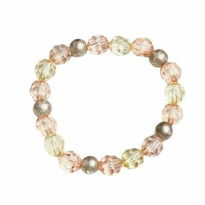 Rose Gold Pink Yellow Beaded Stretch Bracelet Gift